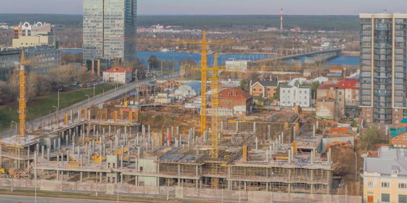 Снимаем продолжительный Timelapse(таймлапс) уже в течение 6 месяцев(пол года) в Перми. Строительство МФЦ в Перми компании PROSPECT GROUP